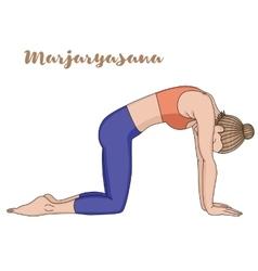 Women silhouette Cat yoga pose Marjaryasana vector