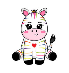 Zebra with colorful stripes for rare disease day vector