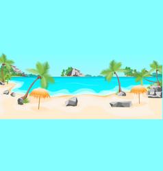 cartoon tropical beach summer landscape background vector image vector image