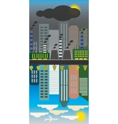 Clean and polluted city reflectionEcology vector image