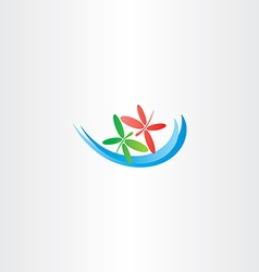 dragonfly in love and water wave logo icon vector image