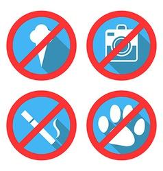 Forbidding signs no dog or pets no ice-cream no sm vector