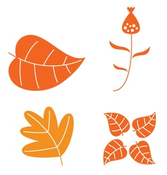 Autumn leaves set isolated on white vector image