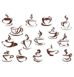 Doodle sketch set of steaming hot beverages vector image vector image
