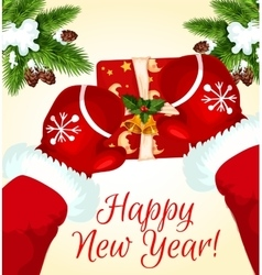 Greeting card with Santa and gift box vector image vector image