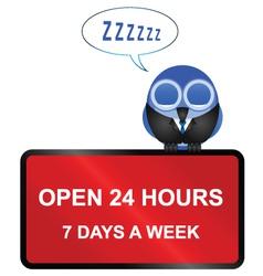 Open twenty four hour retail sign vector image
