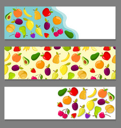 Set of horizontal banners with fruits vector