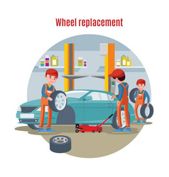 colorful tire service concept vector image vector image