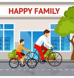 Dad And Son On Bicycles vector image vector image