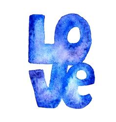 Hand drawn watercolor word LOVE vector image vector image