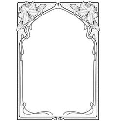 rectangular decorative frame with art nouveau vector image
