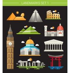 Set of flat design famous world landmarks icons vector image