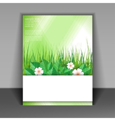 template booklet with grass and green leaves vector image