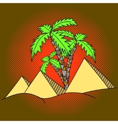 Egypt pyramids and palm trees pop art vector image vector image