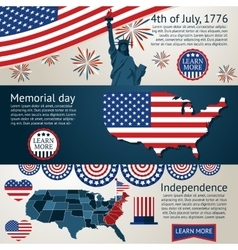 Set - 4th of July banners vector image