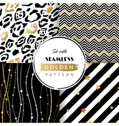 Set with seamless golden pattern vector image vector image