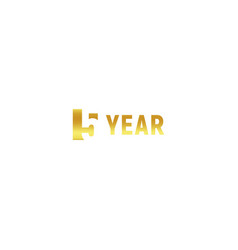 5 year happy birthday gold logo on white vector image