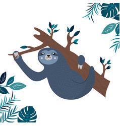 A funny sloth hanging on branch vector