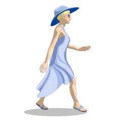 A girl in a summer dress and hat is walking vector