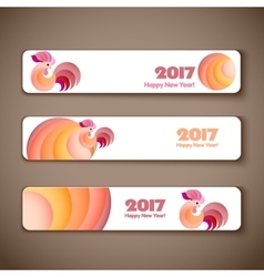 banner web set for new year rooster vector image