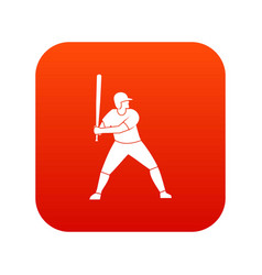 baseball player with bat icon digital red vector image