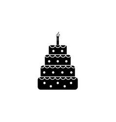 birthday cake web icon black on white background vector image