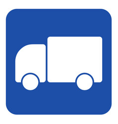 Blue white information sign - lorry car icon vector