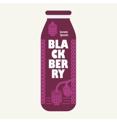 Bottle with drawing blackberry vector image