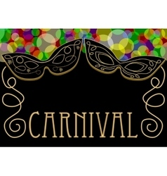 Carnival background mask decorated with gold vector
