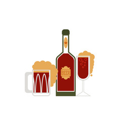 cartoon beer symbols set vector image