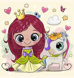 Cartoon fairy tale princess and unicorn vector