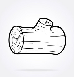 Cartoon log wood line art vector