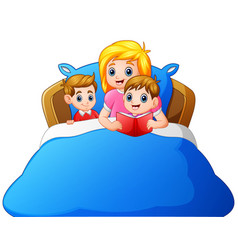 cartoon mother reading bedtime story to her child vector image