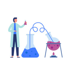 Chemistry scientist with scientific lab equipments vector