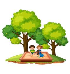Children in sand pit vector