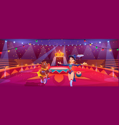 circus show with animal handler and bear on bike vector image