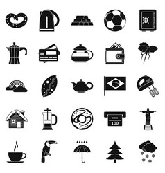 coffee morning icons set simple style vector image