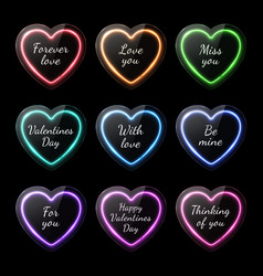 colorful neon heart banners set with romantic text vector image