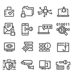 Computer network protection cyber security icons vector