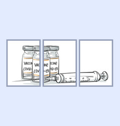 coronavirus vaccine vials syringe drawing vector image