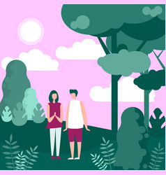 couple people in nature walk vector image