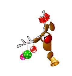 Cute Christmas reindeer Rudolph 2 vector image