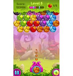 Cute game user interface with colorful bugs vector