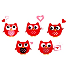 Cute owls for Valentines day isolated on white vector image