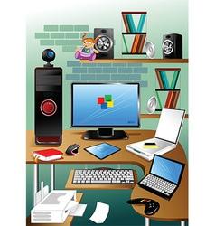 Desktop cartoon vector image