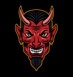 Devil head colored in cartoon style vector