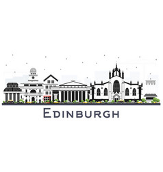 Edinburgh scotland city skyline with color vector