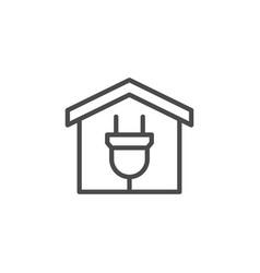 electric car garage line outline icon vector image