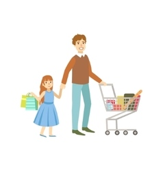 Father And Daughter Shopping Together vector