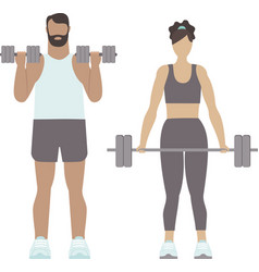 fit man and woman training with barbell in gym vector image